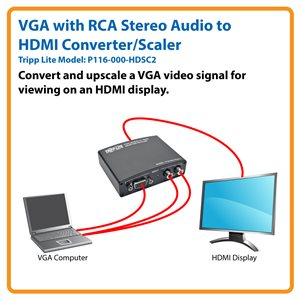 Built-In Scaler Converts and Upscales from VGA to HDMI