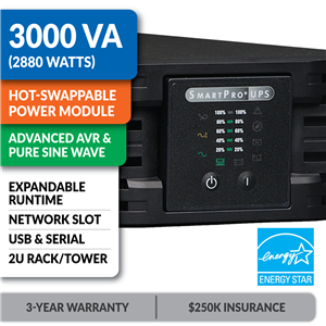 SMART3000RMOD2U SmartPro® Line-Interactive Rack/Tower Sine Wave UPS with Hot-Swappable Power Module, Expandable Runtime and Network Slot