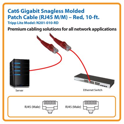 10-ft. Cat6 Gigabit Snagless Molded Patch Cable (Red)