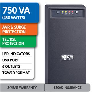 SMART750USB SmartPro® 120V 750VA 450W Line-Interactive UPS, AVR, Tower, USB, Surge-Only Outlets