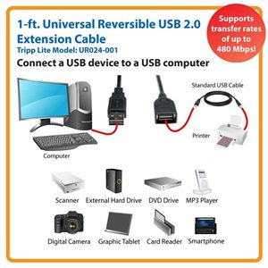 1 ft. Universal Reversible USB 2.0 Hi-Speed Extension Cable