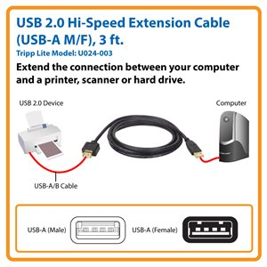 USB 2.0 Hi-Speed Extension Cable (USB-A M/F), 3 ft.