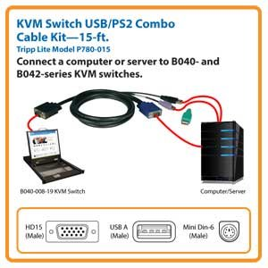 B040- & B042- KVM Switch 15 ft. Cable Kit