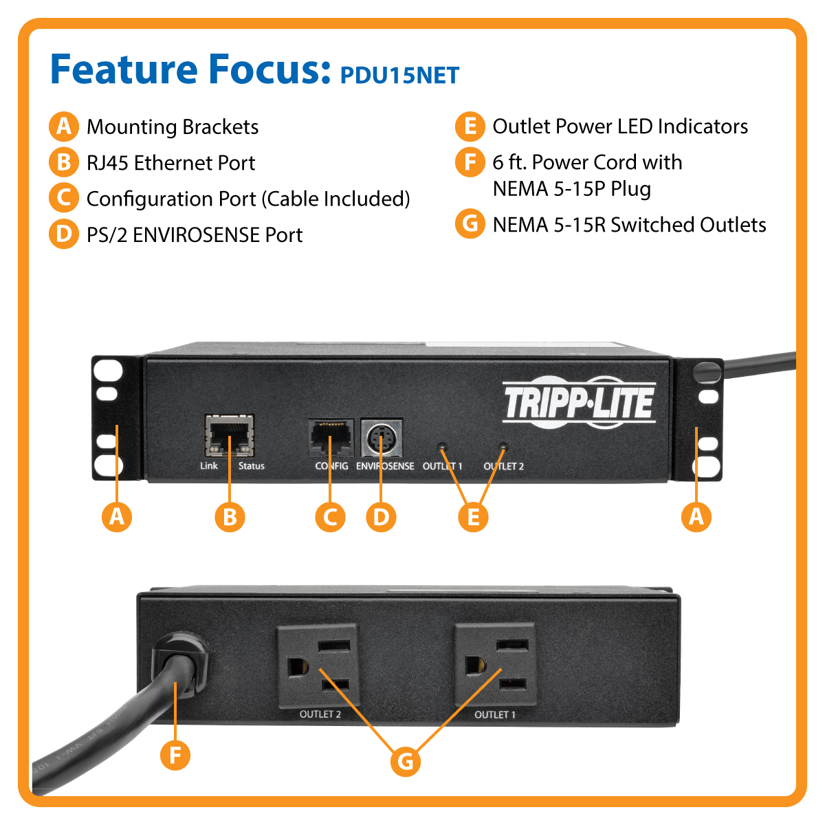Tripp Lite PDU Switched Mini 1.4kW 120V 2 5-15R 100-127V Input 6 ...