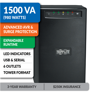 SMART1500XL SmartPro® Line-Interactive Tower UPS with Expandable Runtime