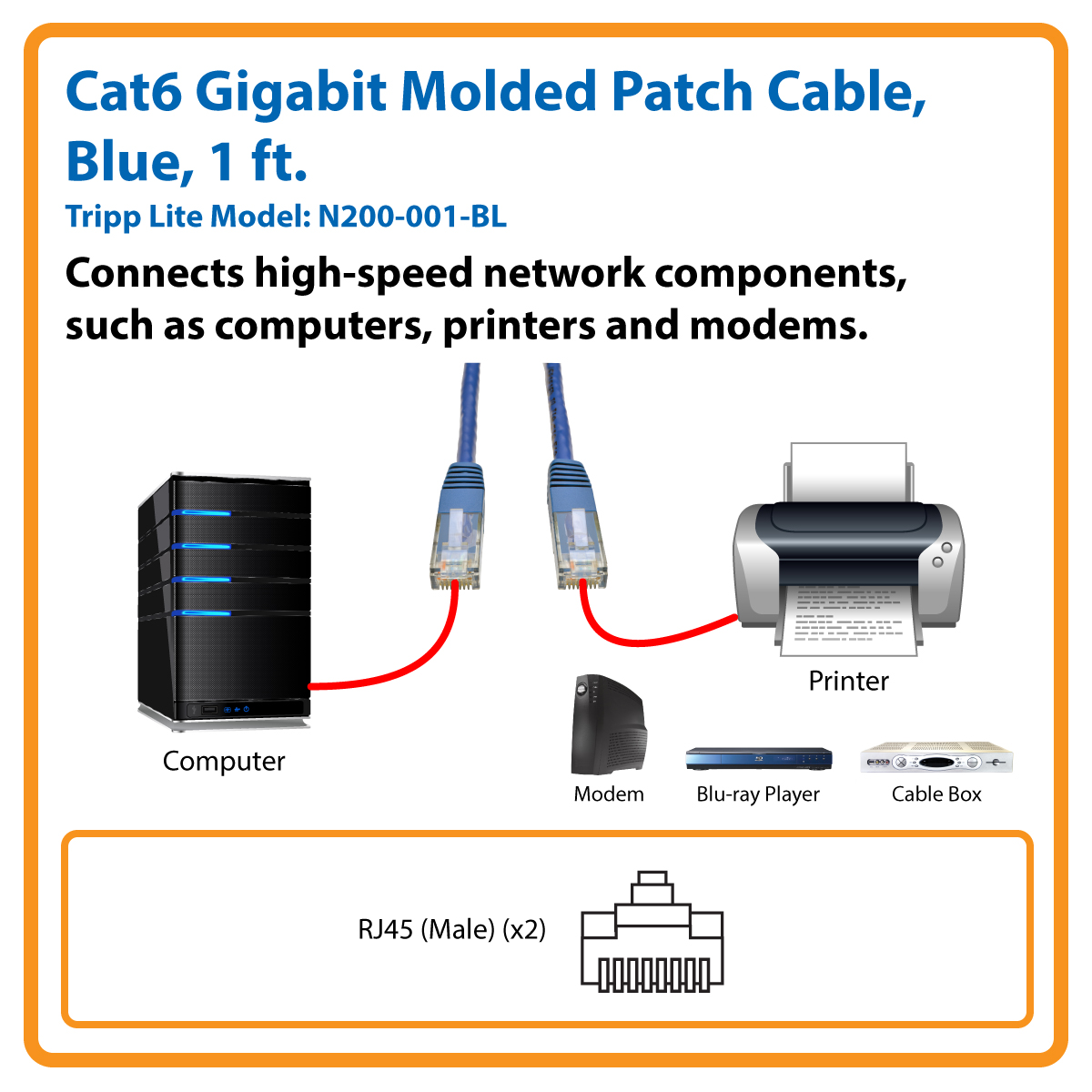 Tripp Lite 1ft Cat6 Gigabit Molded Patch Cable Rj45 M 550mhz 24 Wiring Diagram On Hi Power Lightning Protector Jacks Awg Blue N200 001 Bl Networking Cables