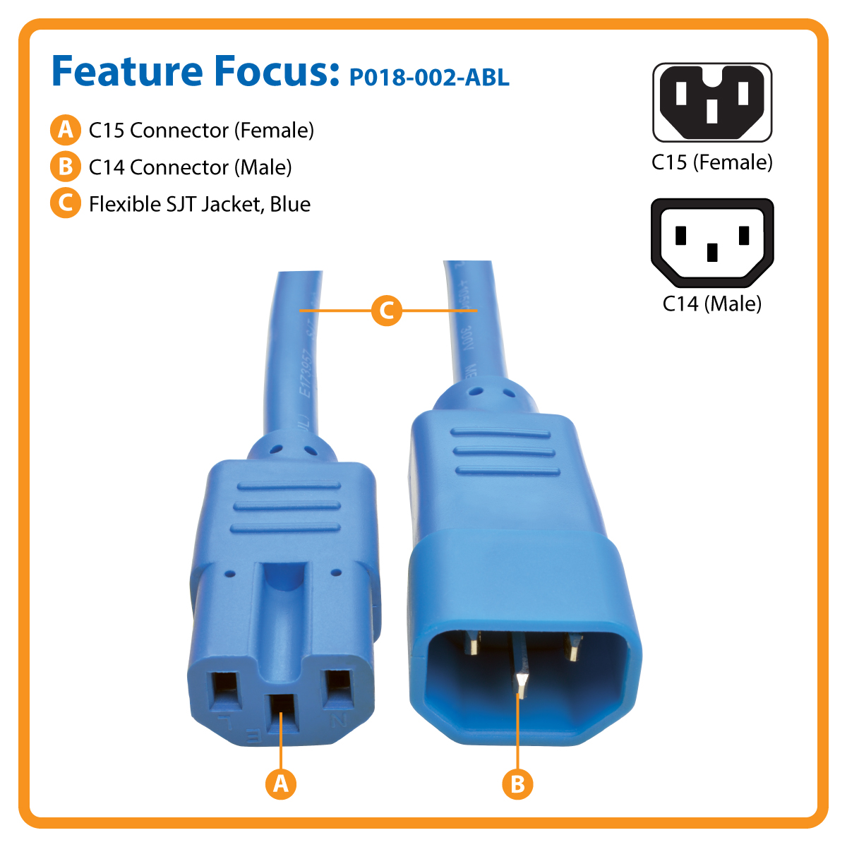 Tripp Lite Heavy Duty Computer Power Cord 15A 14AWG C14 to C15 Blue 2' 2ft