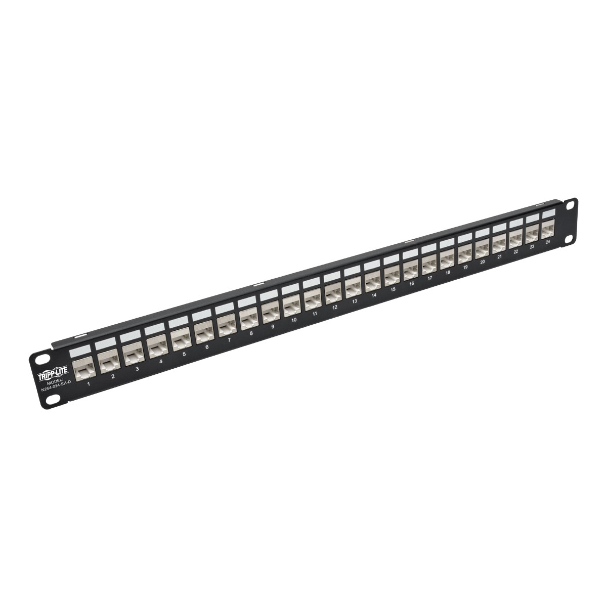 Tripp Lite 24-Port 1U Rack-Mount Patch Panel for Cat 5e Cat 6 RJ45 Ethernet  Feedthrough STP Shielded w/ 90 Degree Down Angle Ports - patch panel - 1U