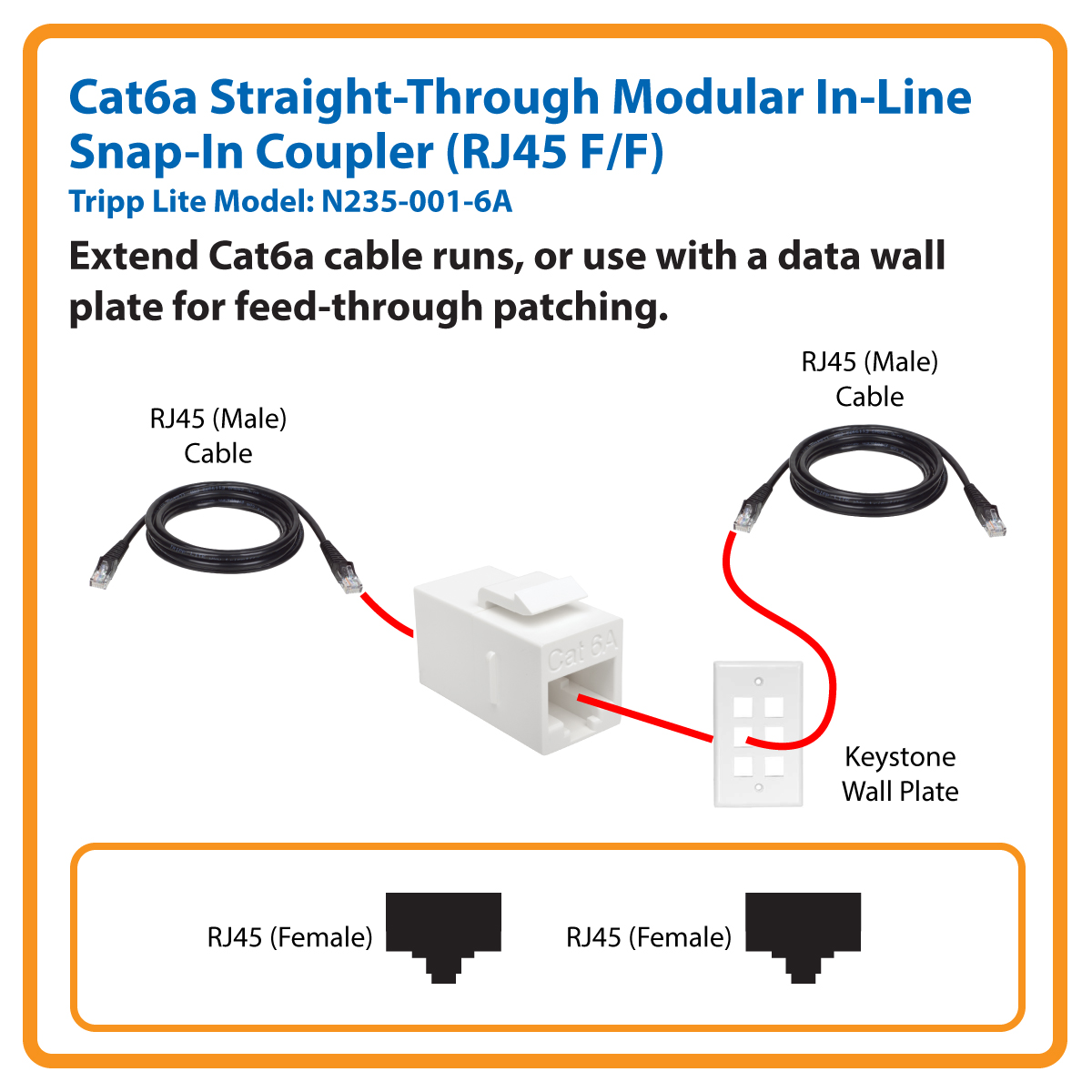 Tripp Lite Cat6a Straight Through Modular In Line Snap Coupler Wire Diagram Rj45 F N235 001 6a Network Cable Accessories