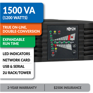 SU1500RTXL2UN SmartOnline® Double-Conversion Rack/Tower Sine Wave UPS with Expandable Runtime, Pre-Installed Network Card