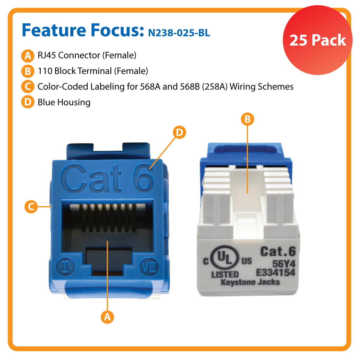 Tripp Lite Cat6 Cat5e 110 Style Punch Down Keystone Jack Blue N238 Rj45 Wiring Jacks 25 Pack