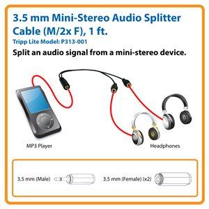 3.5 mm Mini-Stereo Audio Splitter Cable, Black (M/2x F), 1 ft.