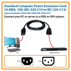 6-ft., 18 AWG, 10A Standard Computer Power Cord (C13 to C14)