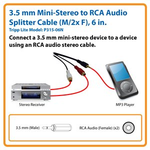 3.5 mm Mini-Stereo to RCA Audio Splitter Cable (M/2x F), 6 in.