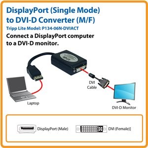 Connect Your DVI-D Monitor to a Computer with Single-Mode DisplayPort Output