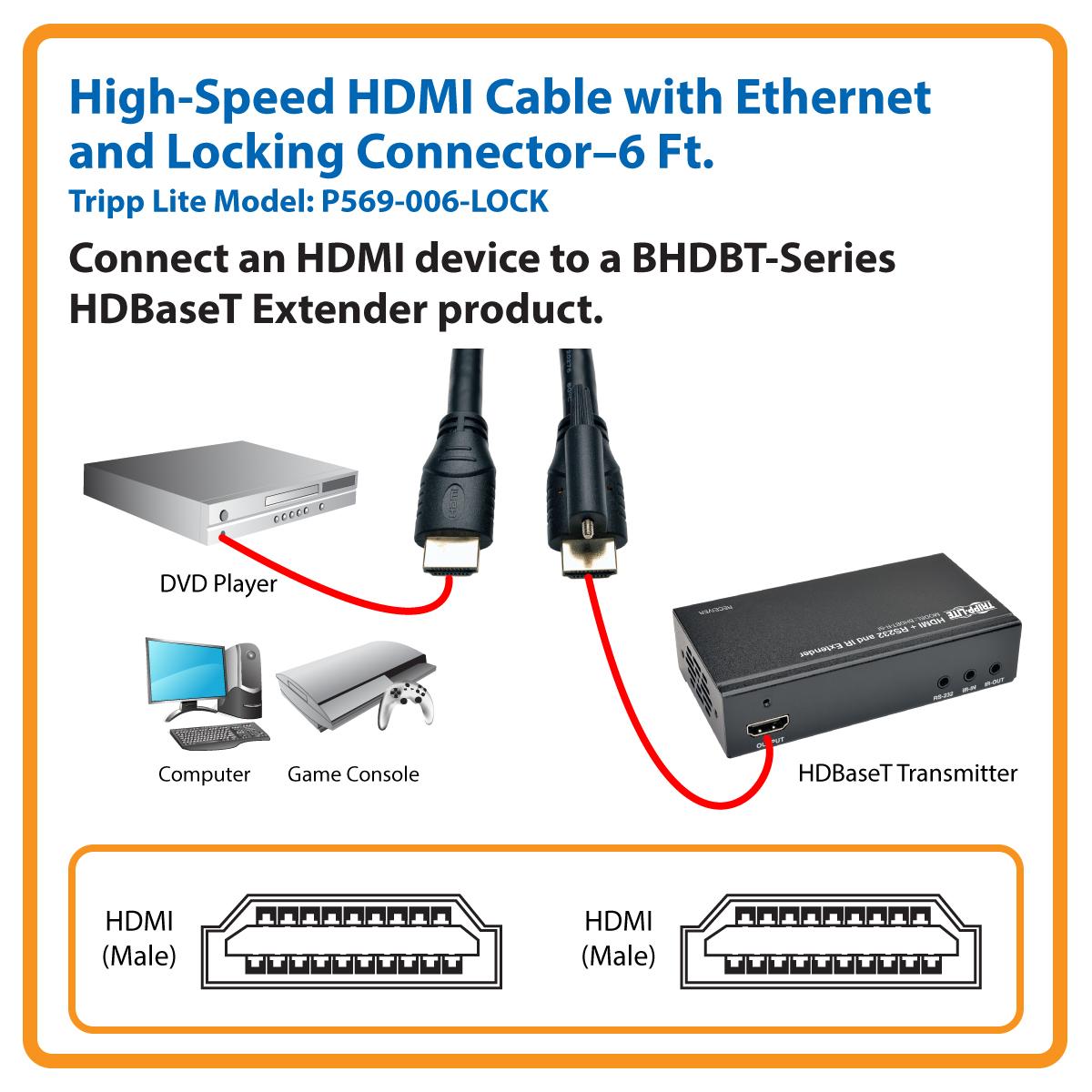 Tripp Lite High Speed Hdmi Cable Ethernet Locking Ultra Hd 4k X 2k M Hdbaset Litetm Transmitter 6ft P569 006 Lock Audio Video Products
