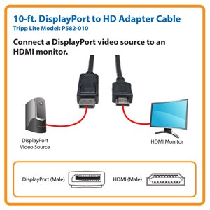 10-ft. DisplayPort to HDMI Cable Adapter (M/M)