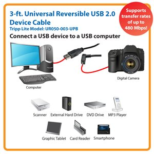 Up-Angled Universal Reversible USB 2.0 3 ft. Hi-Speed Cable
