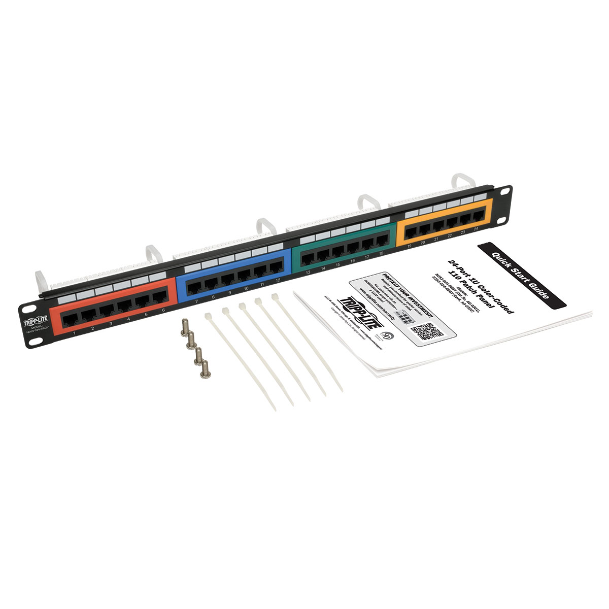 Provantage Tripp Lite N253 024 Rbgy 24 Port Cat6 Patch Panel 1urm 568b Wiring Color Coded 110 Rj45 Ethernet