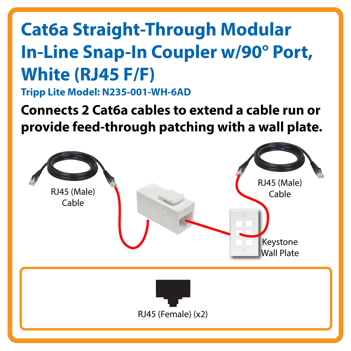 Tripp Lite Cat6a Straight Through Modular In Line Snap Coupler W Rj45 Wiring Diagram White With 90 Angled Port Connects Cables