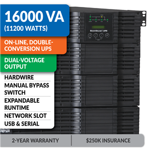 SU16000RT4UHW SmartOnline® Hot-Swappable Double-Conversion Rack/Tower Sine Wave UPS with Hardwired Dual-Voltage Input/Output, Expandable Runtime, Bypass Switch, Network Slot and LCD/LED Control Panel