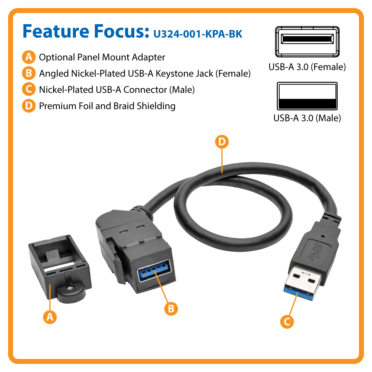 Tripp Lite Usb 30 Keystone Panel Mount Coupler Extension Cable Cabling Technology Discover What Is C2g Add A Type Female Port To Universal Wall Plate