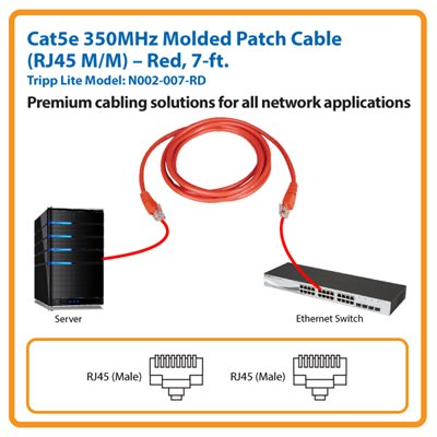 7-ft. Cat5e 350MHz Molded Patch Cable (Red)