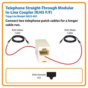 Telephone Straight-Through Modular In-Line Coupler (RJ45 F/F)