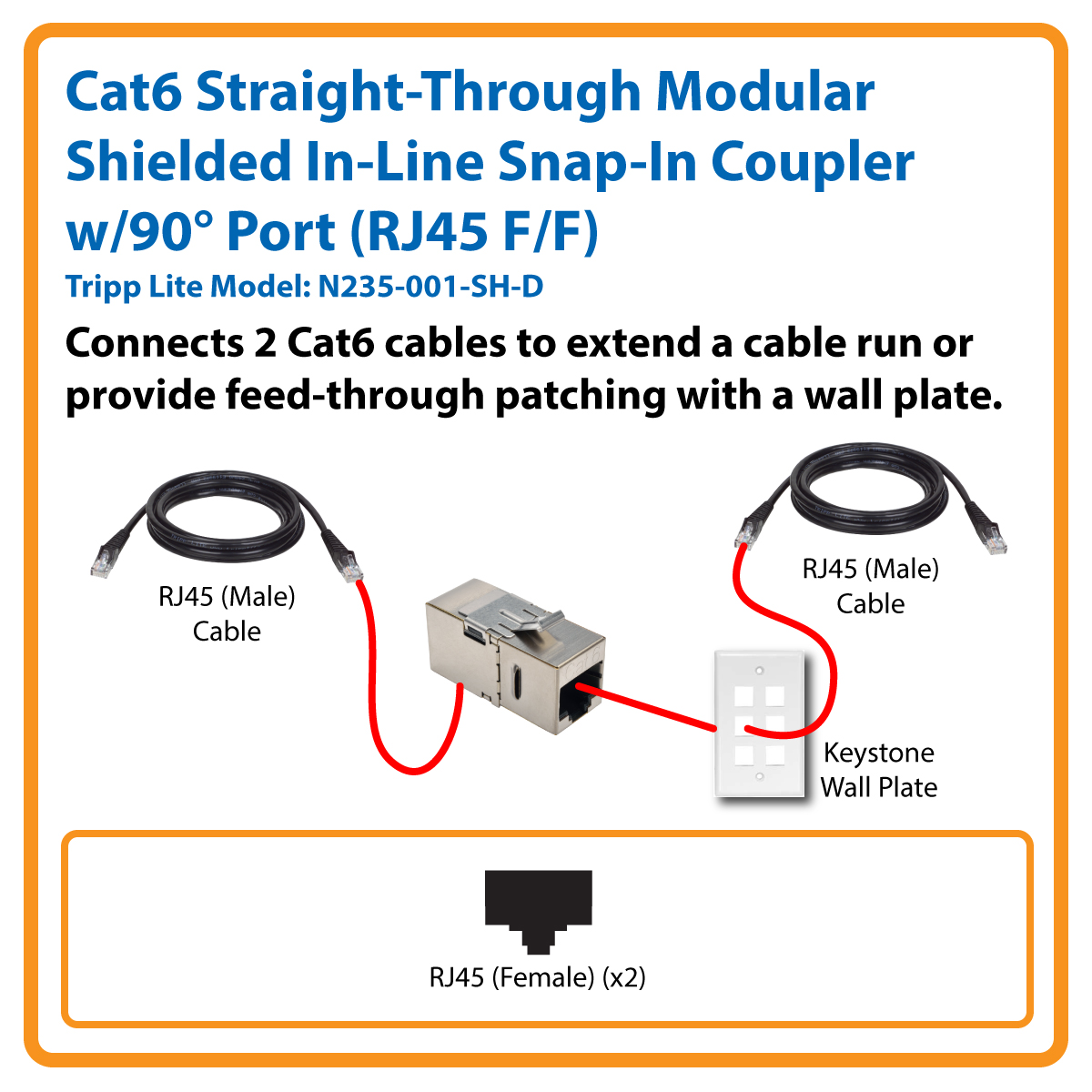 Tripp Lite Cat6 Straight Through Modular Shielded In Line Coupler ...