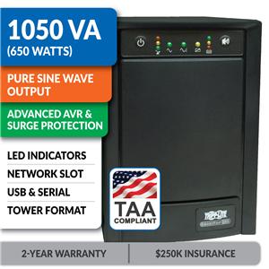 SMART1050SLTAA Smart Line-Interactive 1050VA Tower Sine Wave UPS with Network Slot, TAA-Compliant