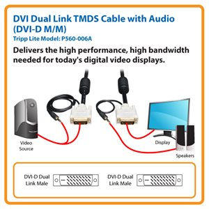 Transmit Video and Audio from a Computer to a DVI-D Dual Link DVI Display or Projector