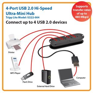 Conveniently Connect Up to 4 USB 2.0 Devices