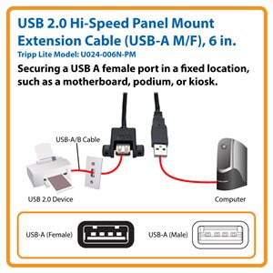 USB 2.0 Hi-Speed Panel Mount Extension Cable (USB-A M/F), 6 in.