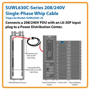 25 ft., 208/240V Single-Phase Whip Cable with L6-30R Outlet for 3-Phase Power Distribution Cabinets
