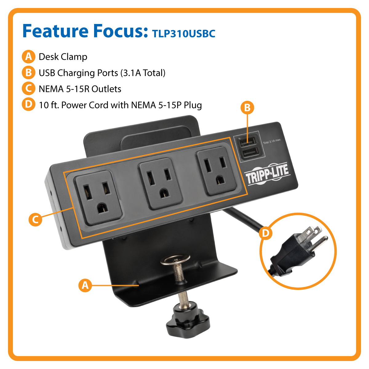 Tripp Lite Tlp310usbc 3 Surge Protector Power Strip Desk Clamp With 2 Port Usb Charging 15 A Ac 120 V Output Connectors