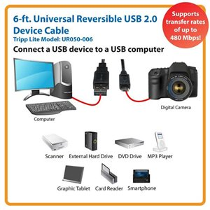 6 ft. Universal Reversible USB 2.0 Device Cable