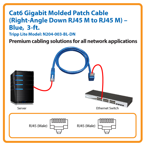 3-ft. Cat6 Gigabit Molded Patch Cable, Right-Angle Down RJ45 M to RJ45 M (Blue)