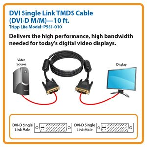 Connect High-Resolution DVI Displays to Your Desktop Computer Up to 10 ft. Away (DVI-D M/M)