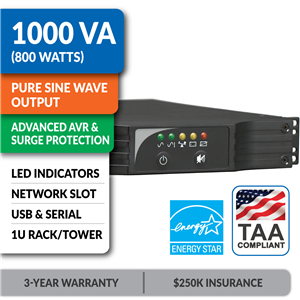 SM1000RM1UTAA SmartPro® Line-Interactive Rack/Tower Sine Wave UPS with Network Slot