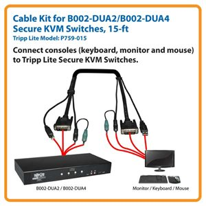DVI / USB / Audio KVM Cable Kit for Total Network Security-15ft