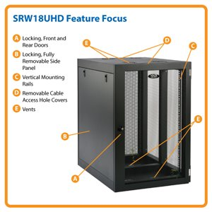 18U Heavy-Duty, Side-Mounting Wall Mount Rack Enclosure Server Cabinet