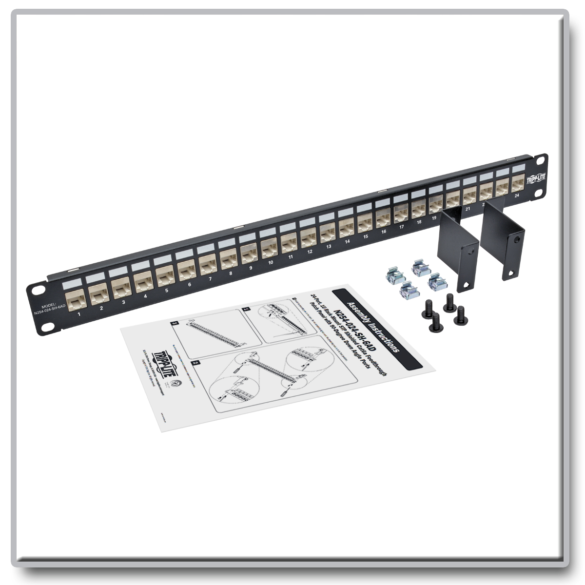 Tripp Lite 24 Port Cat6a Shielded Feedthrough Patch Panel Down 19inch Cat6 Utp T568a T568b Wiring 1ru 110 Termination Product Image
