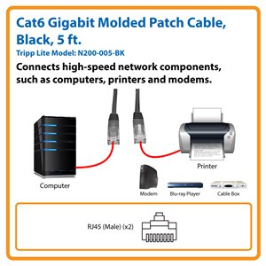 Cat6 Gigabit Molded Patch Cable (RJ45 M/M), Black, 5 ft.