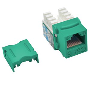 Cat6/Cat5e 110-Style Punch-Down Keystone Jack, Green