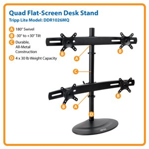 Free Up Valuable Desk Space with a Quad Full-Motion Flat-Screen Desk Stand