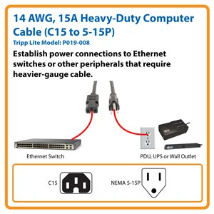 8 ft., Heavy-Duty Power Cord for Network Hardware Requiring Heavy-Gauge Cable (C15 to NEMA 5-15P)