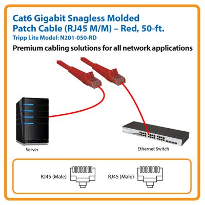 50-ft. Cat6 Gigabit Snagless Molded Patch Cable (Red)
