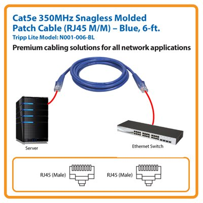 6-ft. Cat5e 350MHz Snagless Molded Patch Cable (Blue)