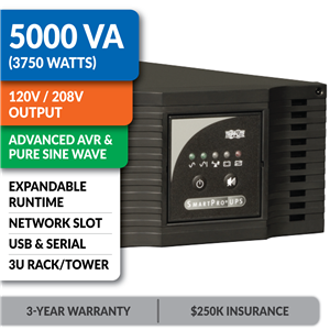 SMART5000XFMRXL SmartPro® Line-Interactive Rack/Tower Sine Wave UPS with Expandable Runtime and Network Slot