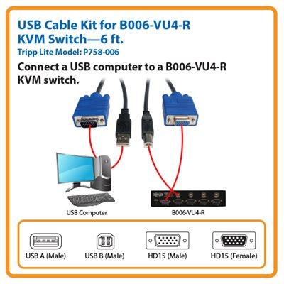 6-ft. USB Cable Kit for Tripp Lite's B006-VU4-R KVM Switch